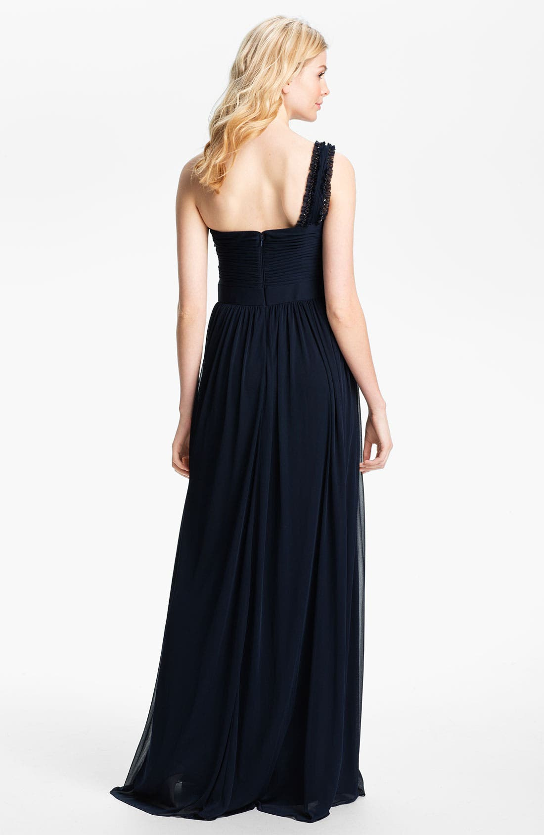 Alternate Image 2  - Adrianna Papell One Shoulder Embellished Bodice Pleated Gown