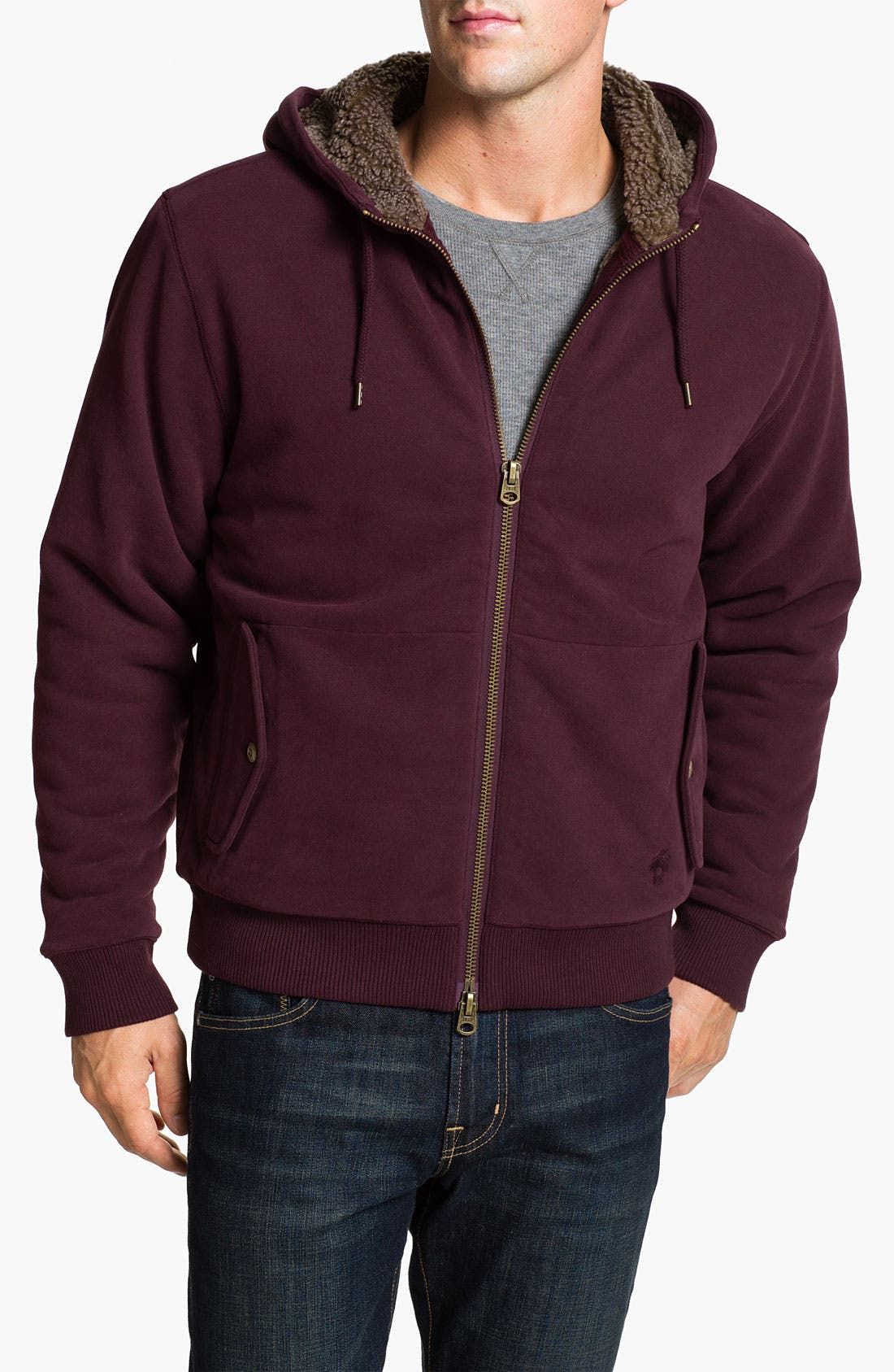 Main Image - Brooks Brothers Zip Hoodie with Faux Shearling Lining