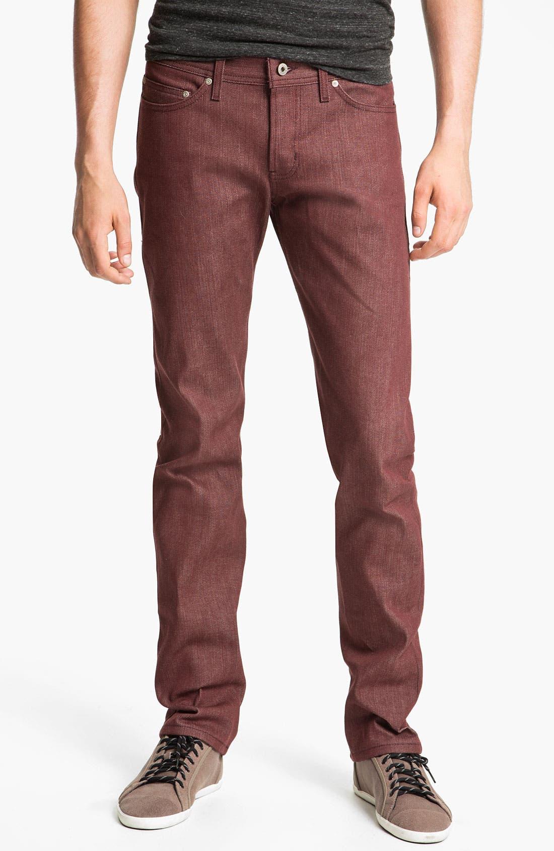 Alternate Image 2  - Naked & Famous Denim 'Weird Guy' Slim Tapered Leg Selvedge Jeans (Pomegranate Red)