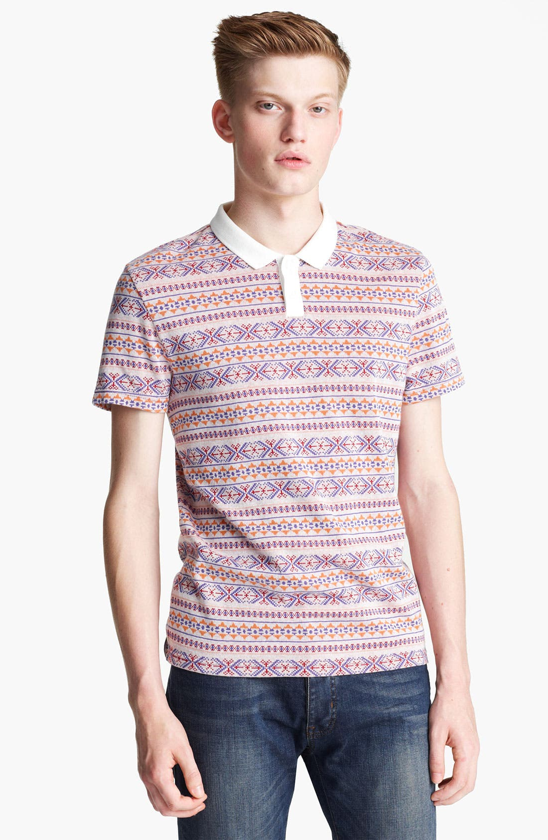 Main Image - Topman Jacquard Polo Shirt