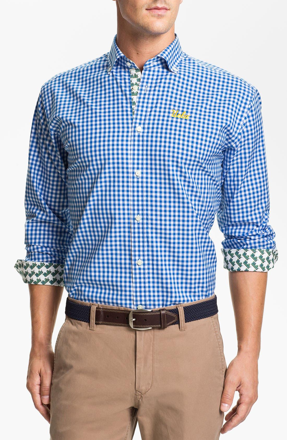 Alternate Image 1 Selected - Thomas Dean 'UCLA' Gingham Sport Shirt