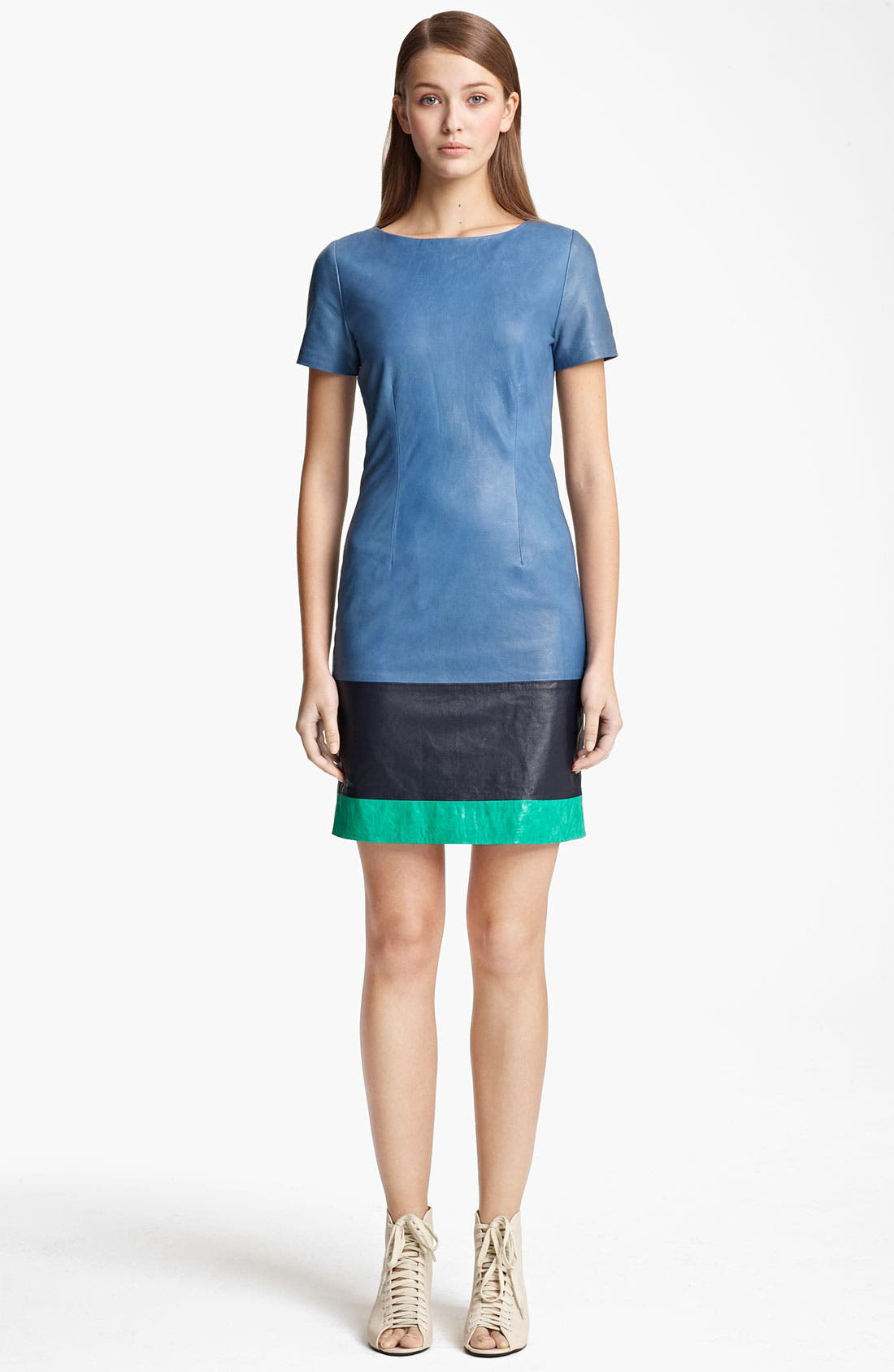 Main Image - Band of Outsiders Colorblock Leather Dress