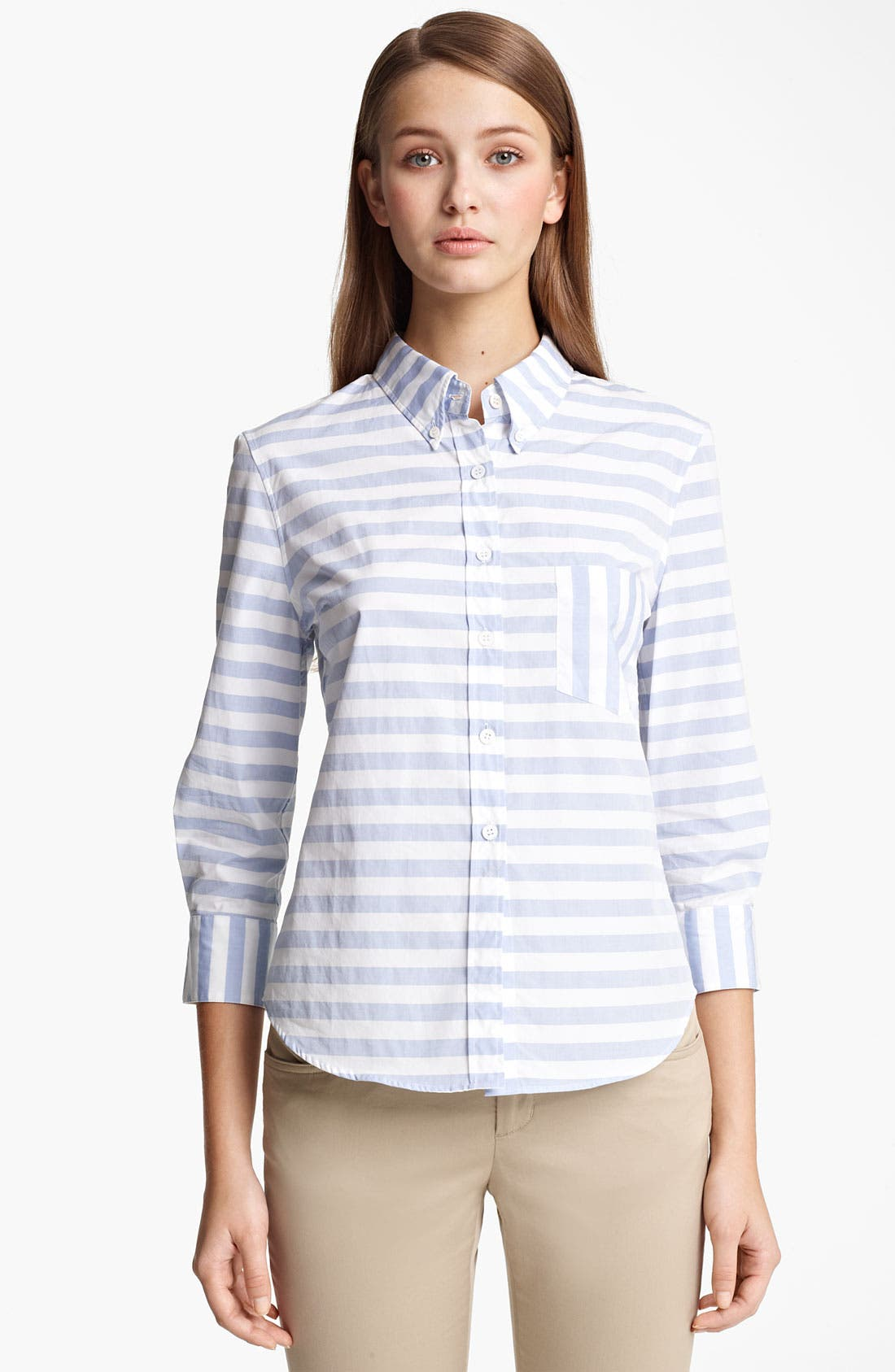 Alternate Image 1 Selected - Band of Outsiders Stripe Silk Shirt
