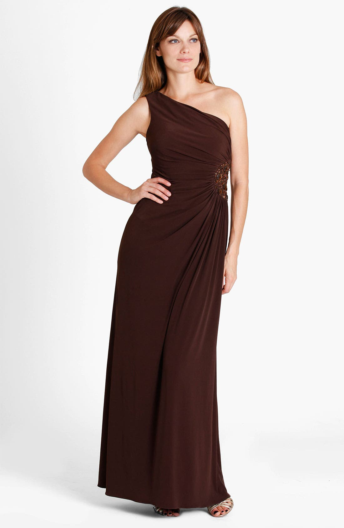 Main Image - JS Boutique One Shoulder Beaded Medallion Jersey Gown
