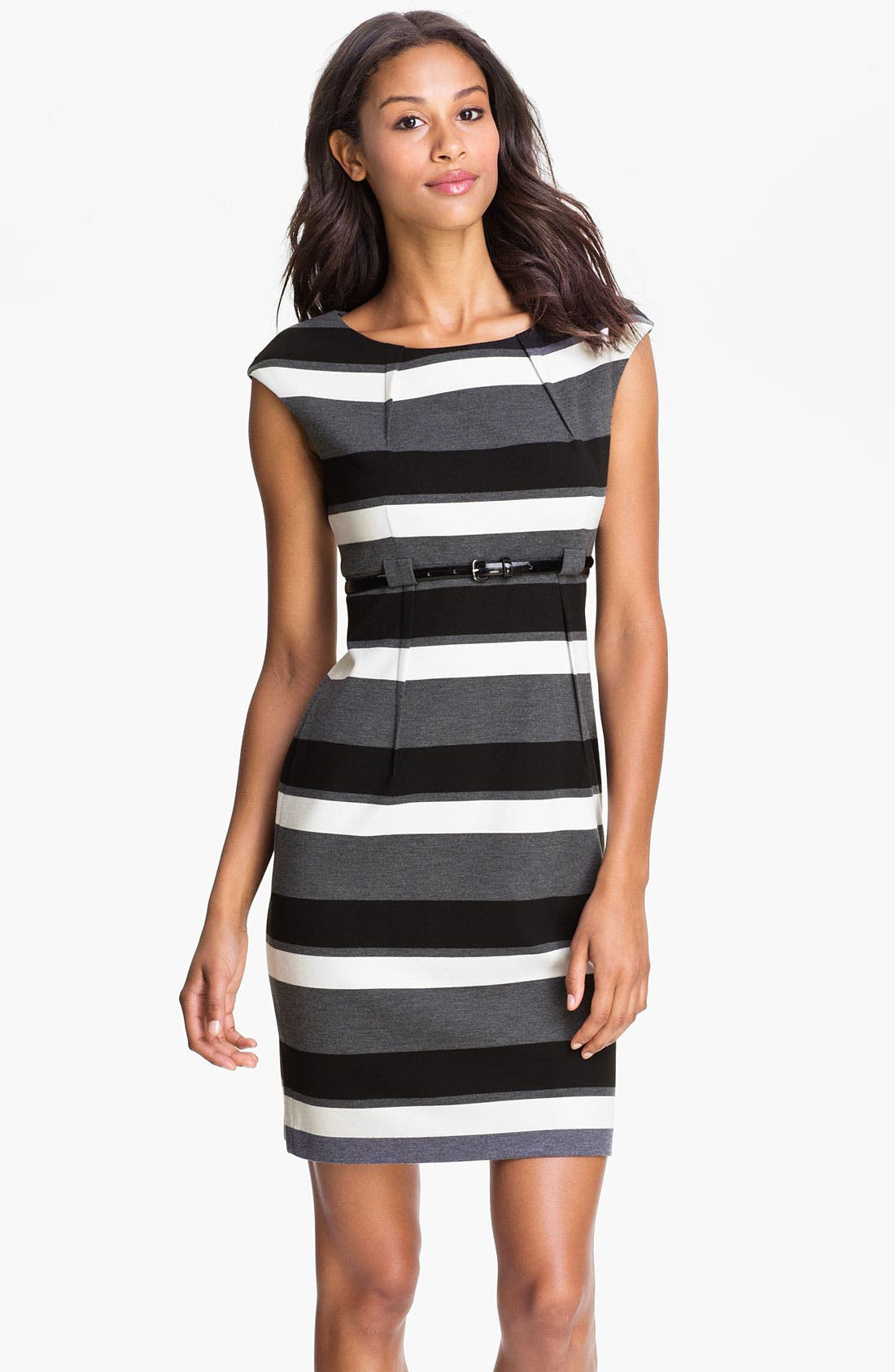 Main Image - Calvin Klein 'Stretch Luxe' Belted Sheath Dress