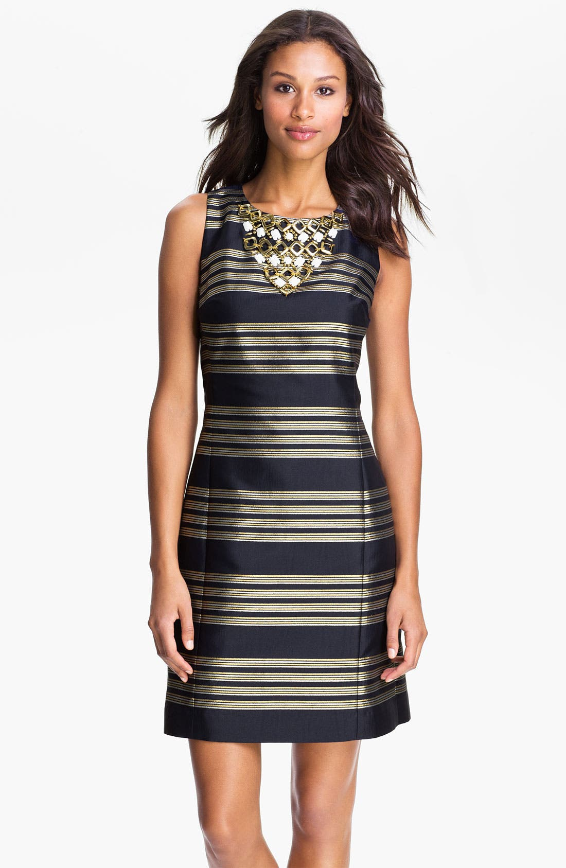 Alternate Image 1 Selected - Lilly Pulitzer® Beaded Neck Metallic Stripe Sheath Dress