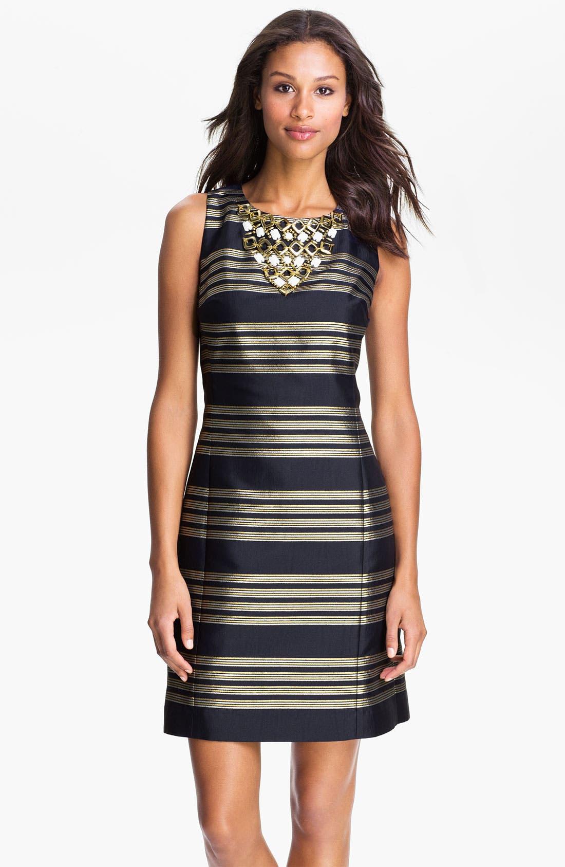Main Image - Lilly Pulitzer® Beaded Neck Metallic Stripe Sheath Dress