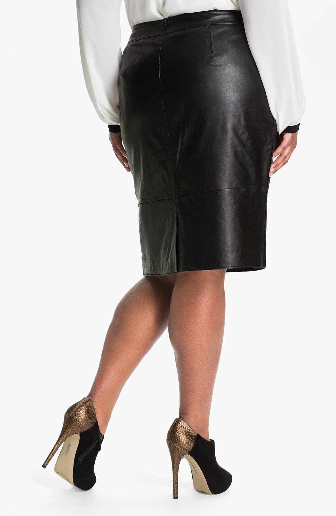 Alternate Image 2  - Sejour Leather Skirt (Plus)