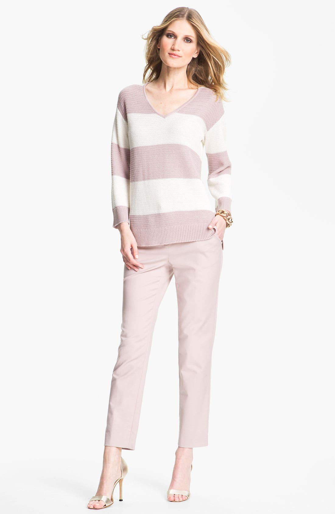 Main Image - St. John Collection 'Emma' Double Weave Stretch Cotton Crop Pants