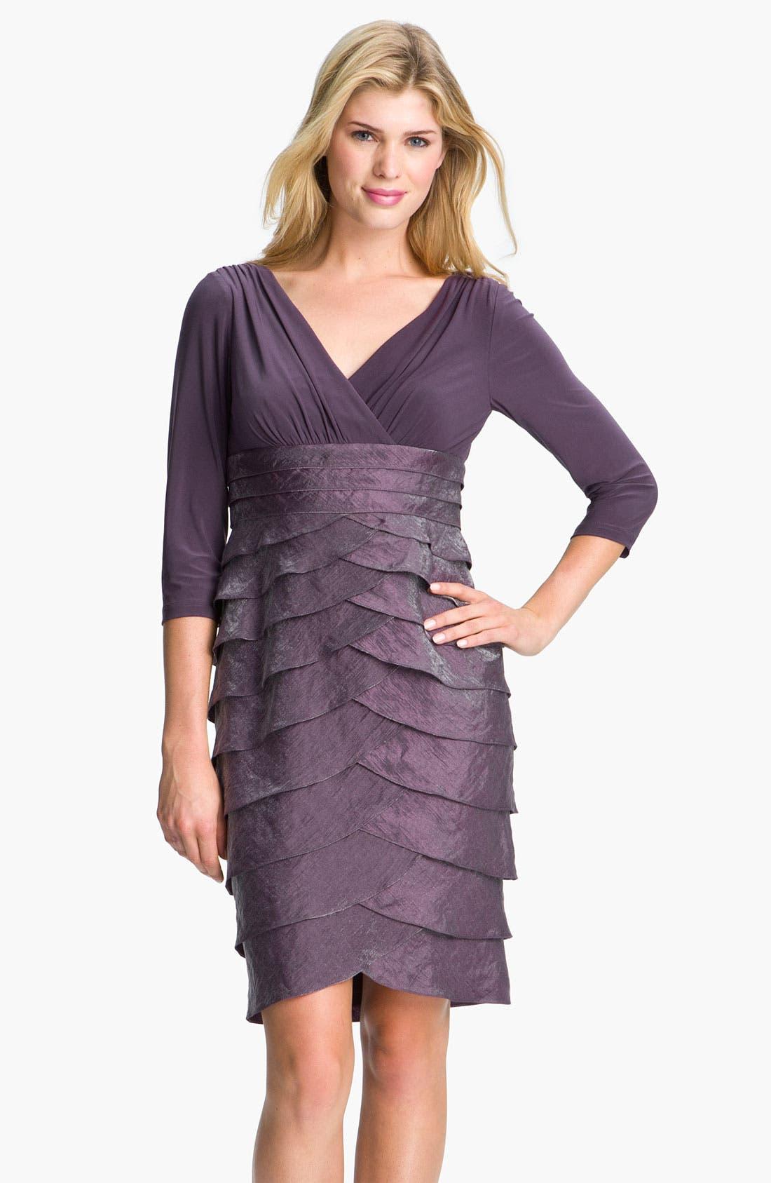 Alternate Image 1 Selected - Adrianna Papell Tiered Surplice Dress (Petite)
