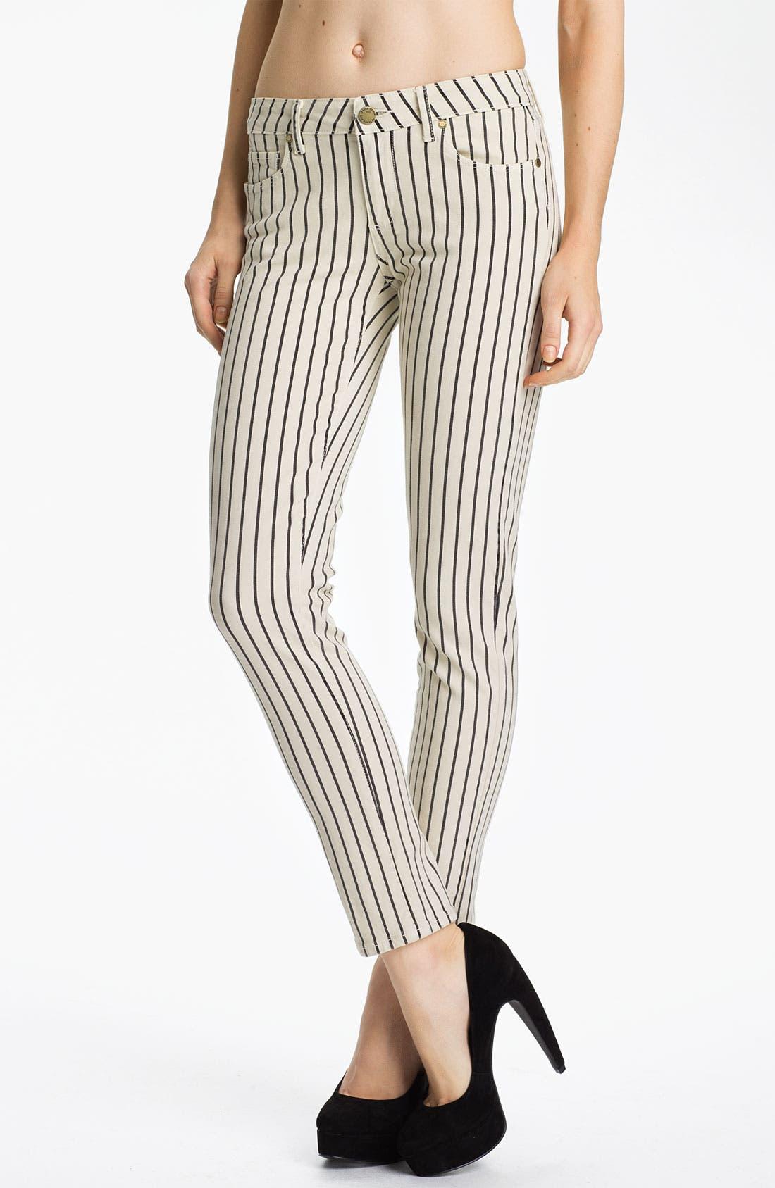 Main Image - Paige Denim 'Skyline' Ankle Peg Stripe Skinny Jeans (Birch/Black)