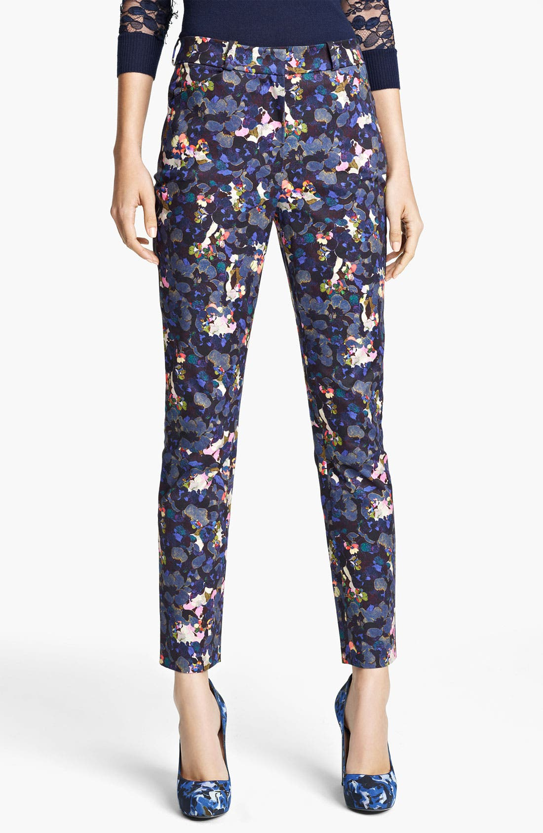 Alternate Image 1 Selected - Erdem Petal Print Slim Pants