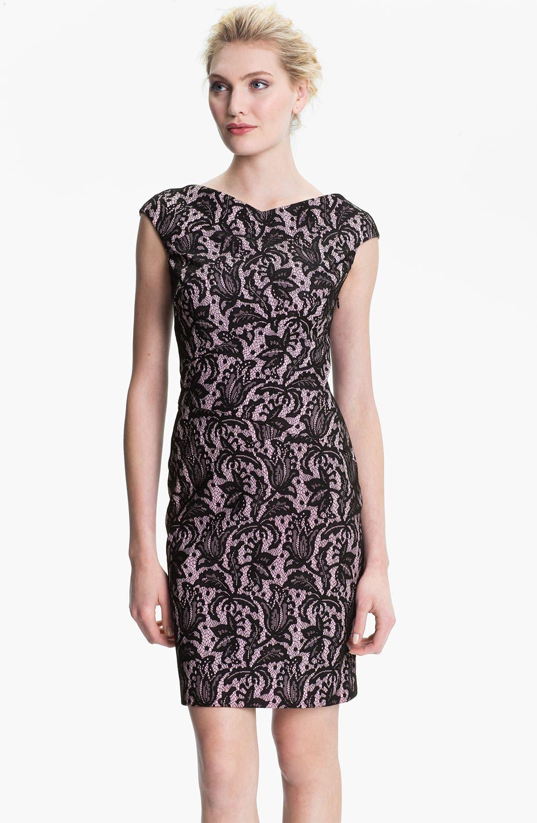 Alternate Image 1 Selected - Kay Unger V-Back Lace Jacquard Sheath Dress