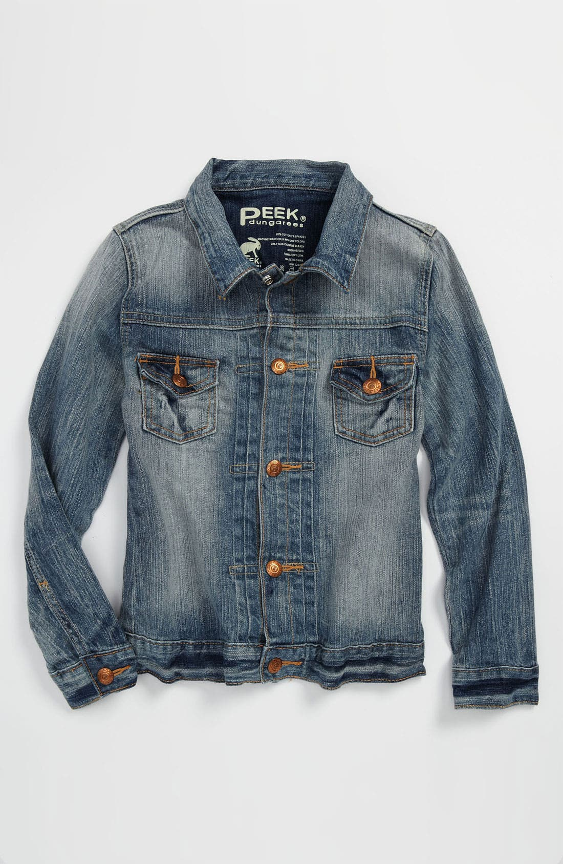 Alternate Image 1 Selected - Peek 'Wright' Denim Jacket (Toddler, Little Girls & Big Girls)