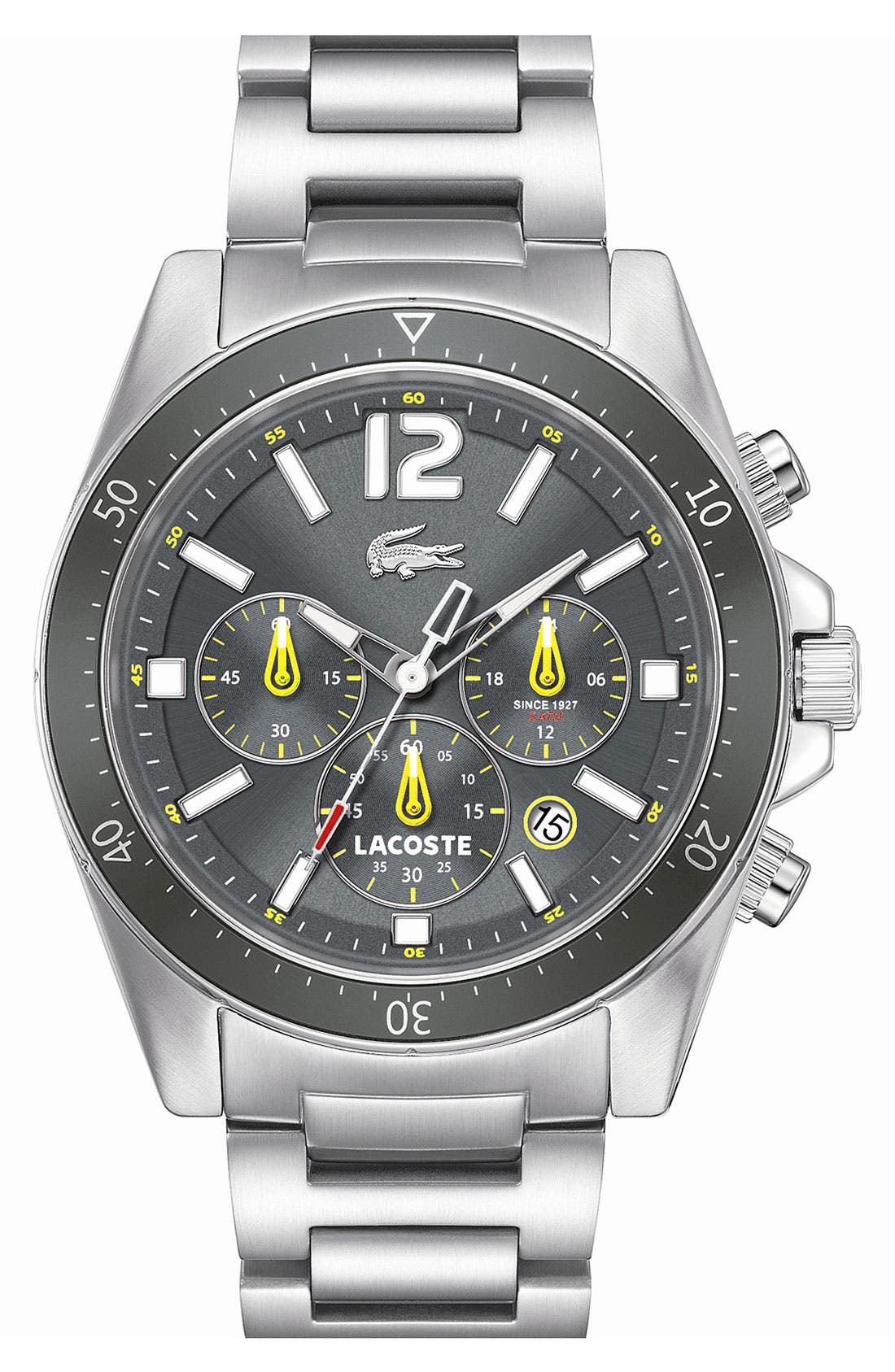 'Seattle' Chronograph Aluminum Bezel Bracelet Watch, 43mm,                             Main thumbnail 1, color,                             Silver/ Grey