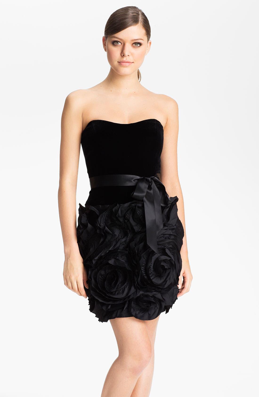 Main Image - Adrianna Papell Strapless Rosette Detail Velvet Dress