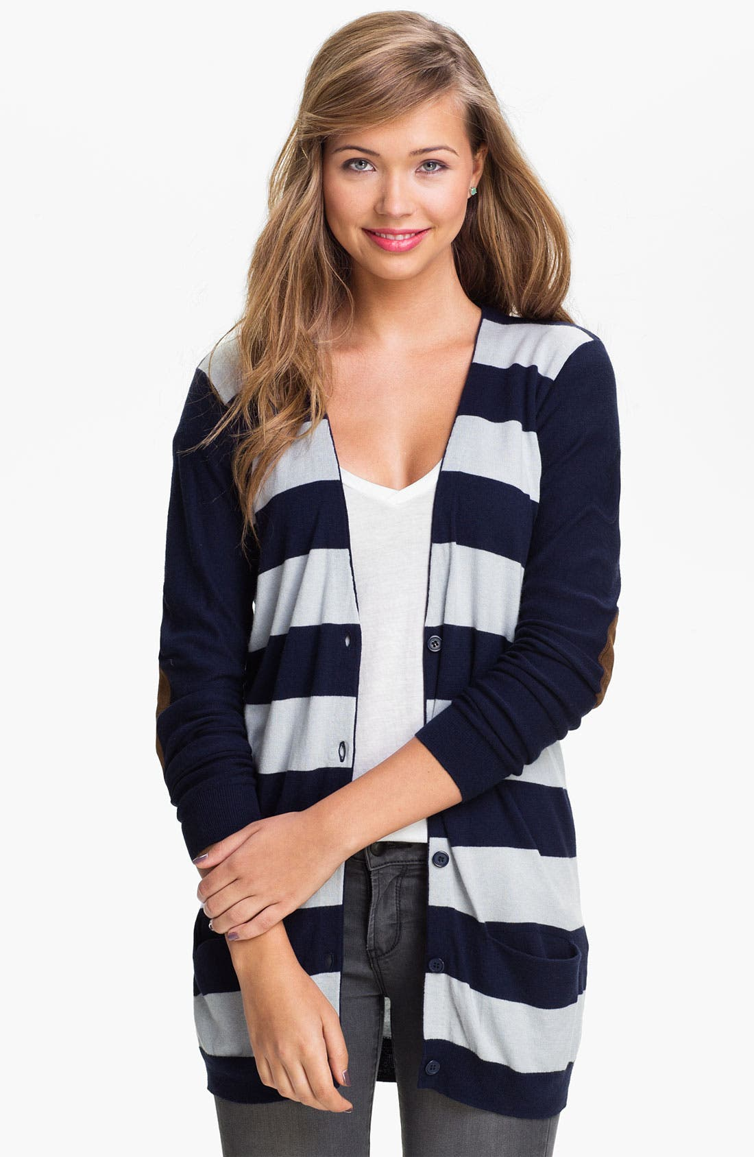 Alternate Image 1 Selected - BP. Rugby Stripe Cardigan (Juniors)