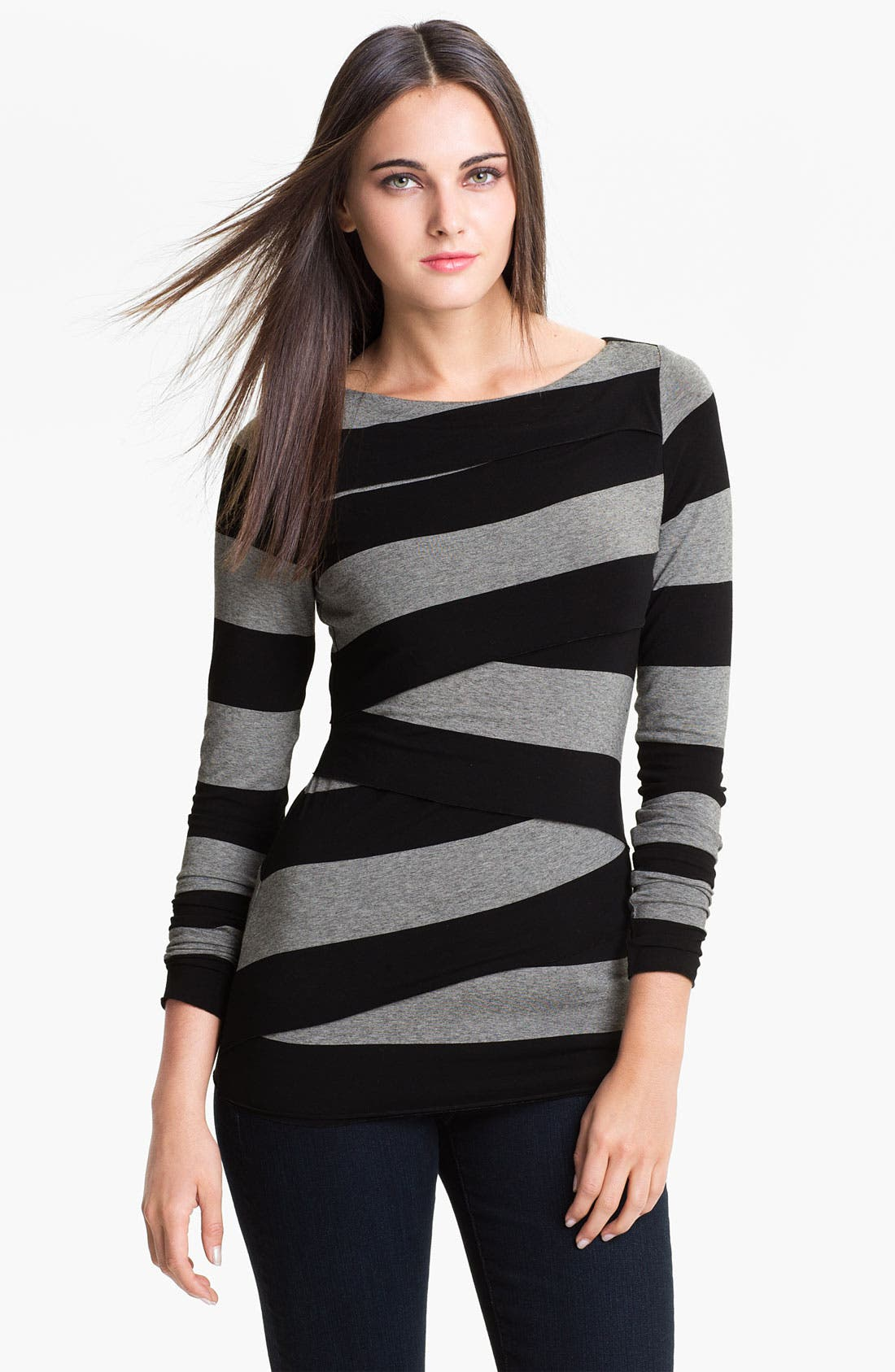 Main Image - Vince Camuto Wide Stripe Zigzag Top