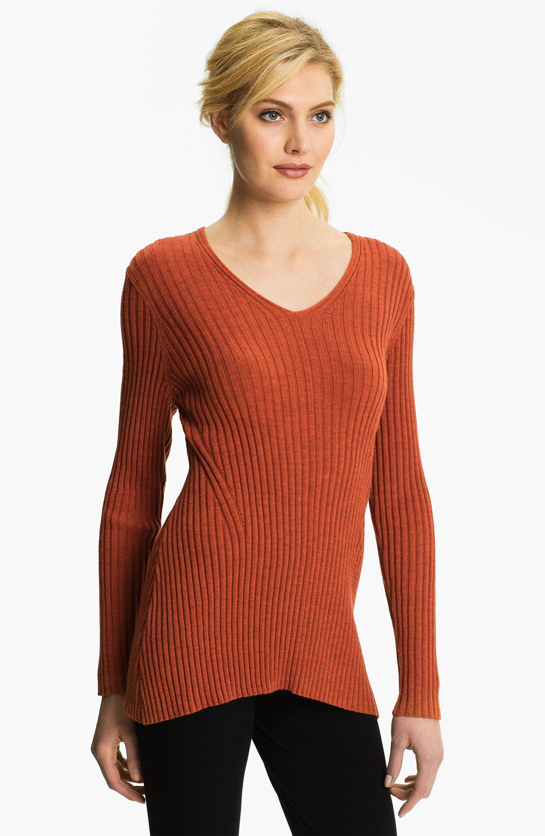 Alternate Image 1 Selected - Eileen Fisher Ribbed V-Neck Tunic Sweater (Online Exclusive)