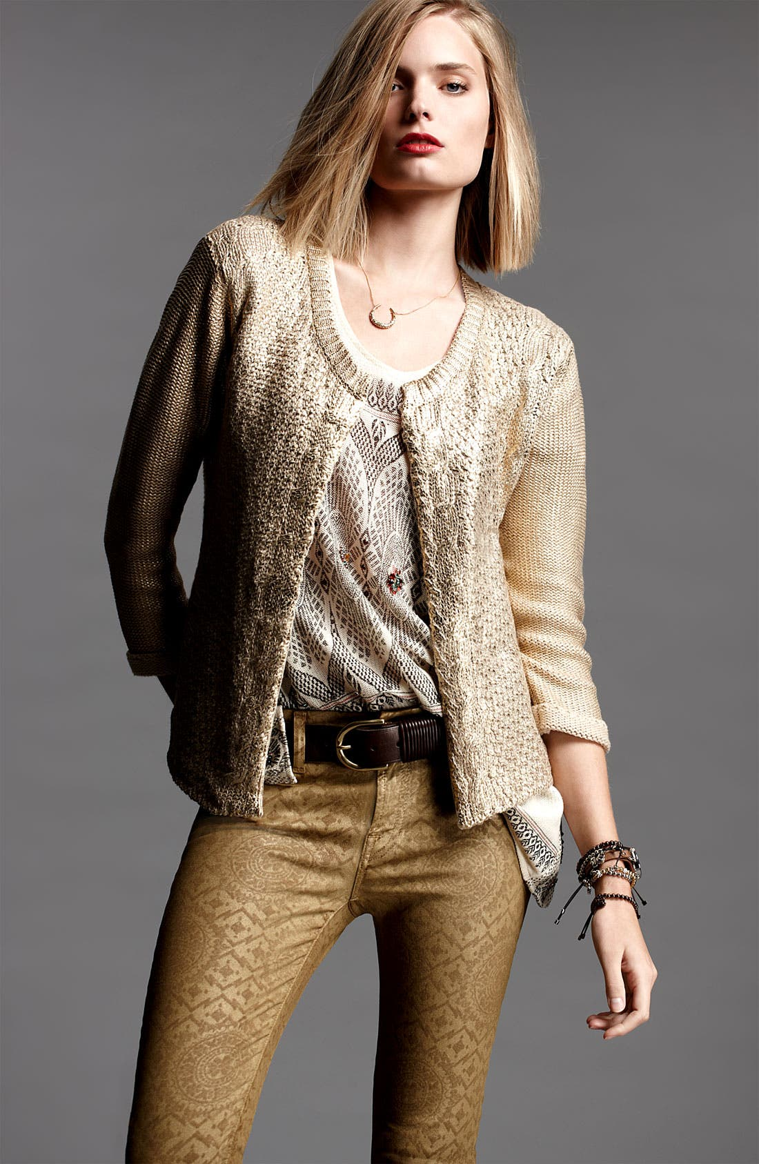 Alternate Image 1 Selected - Gibson Cardigan, Free People Tunic & 7 For All Mankind® Jeans