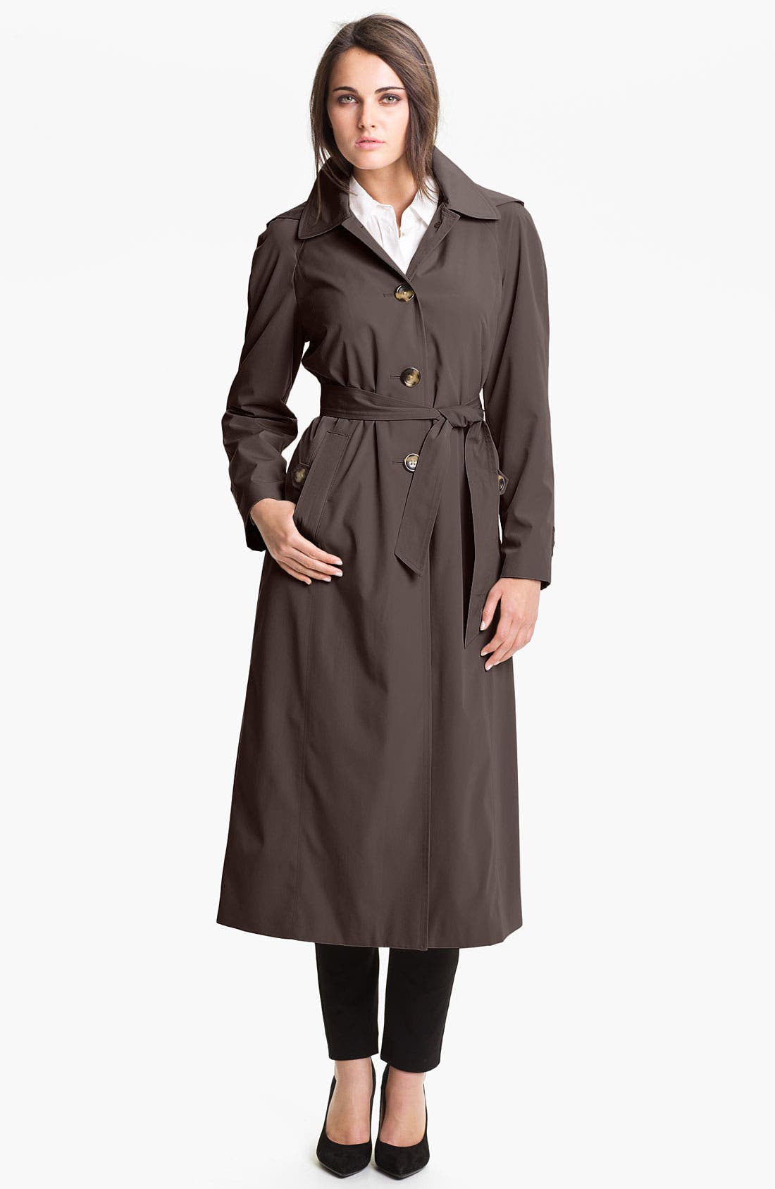 Alternate Image 1 Selected - London Fog Raglan Sleeve Raincoat with Detachable Hood