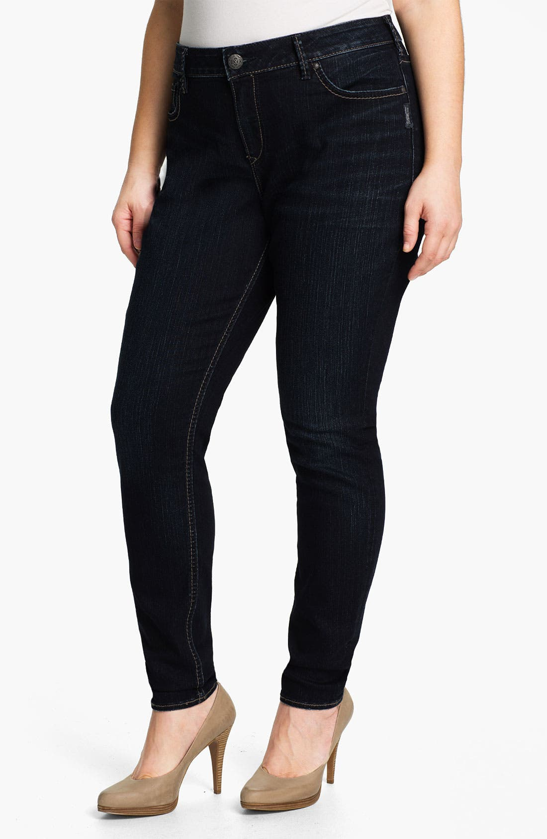 Alternate Image 1 Selected - Silver Jeans Co. 'Stevie' Denim Leggings (Plus)