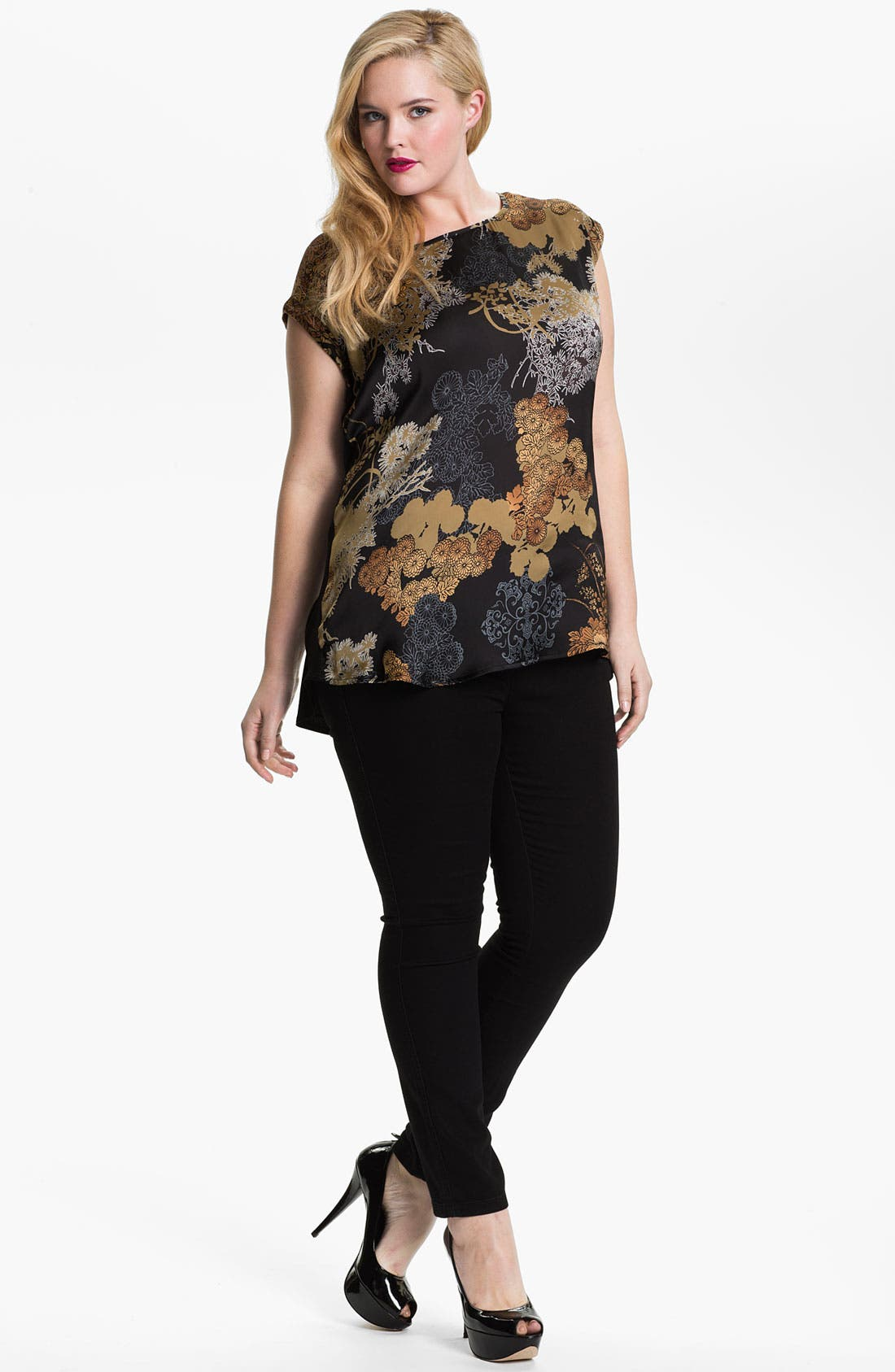 Alternate Image 2  - Evans 'Oriental' Mixed Media Top (Plus Size)