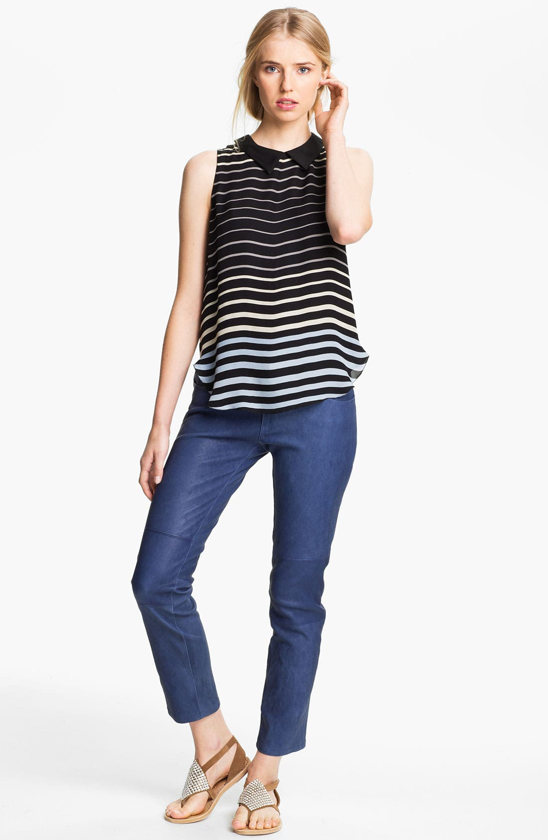 Alternate Image 1 Selected - L'AGENCE Sleeveless Stripe Silk Blouse