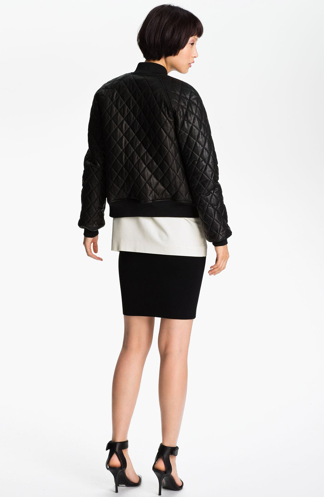 Alternate Image 2  - Alexander Wang Quilted Leather Bomber Jacket