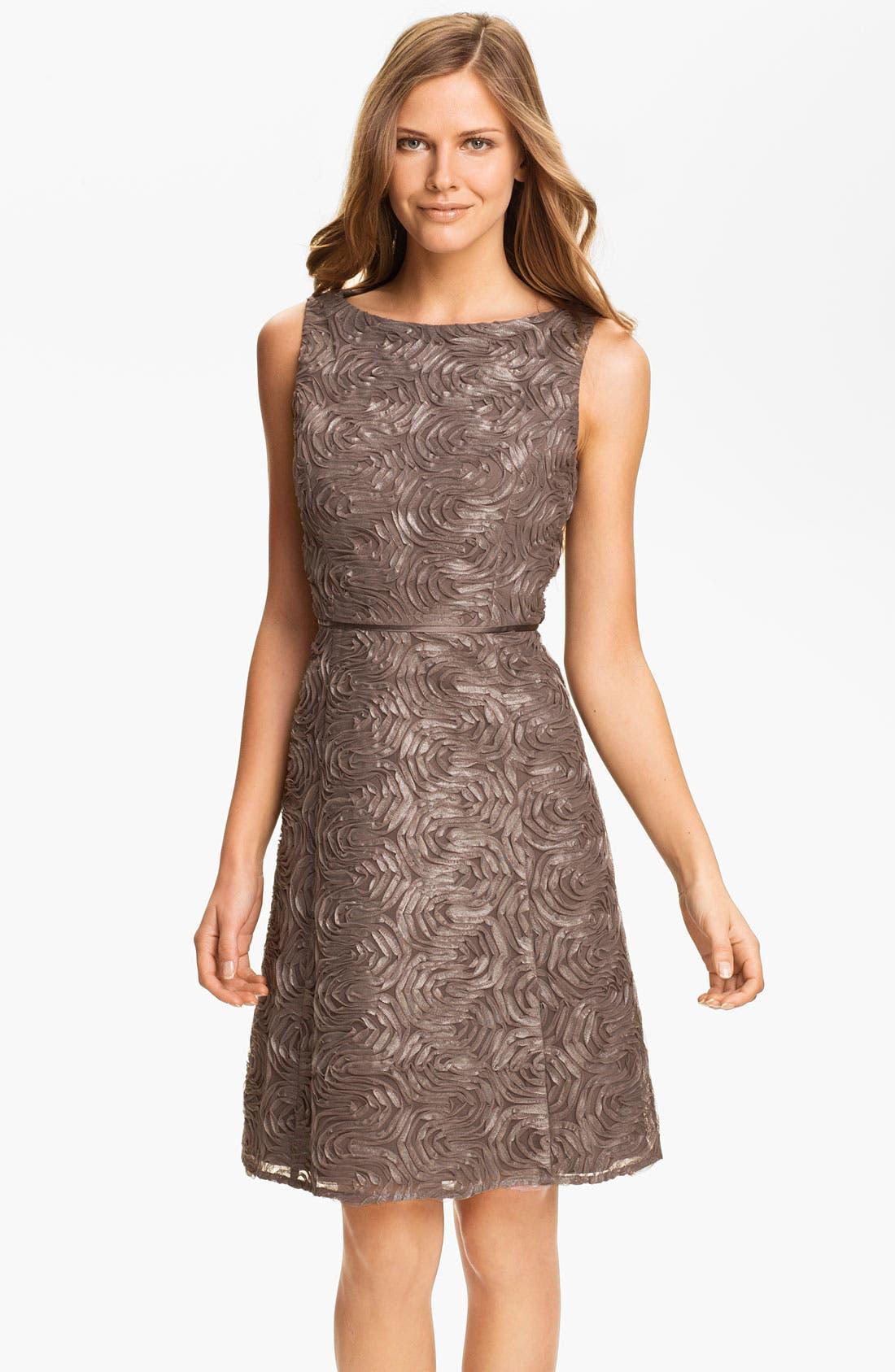 Main Image - Adrianna Papell Metallic Soutache A-Line Dress