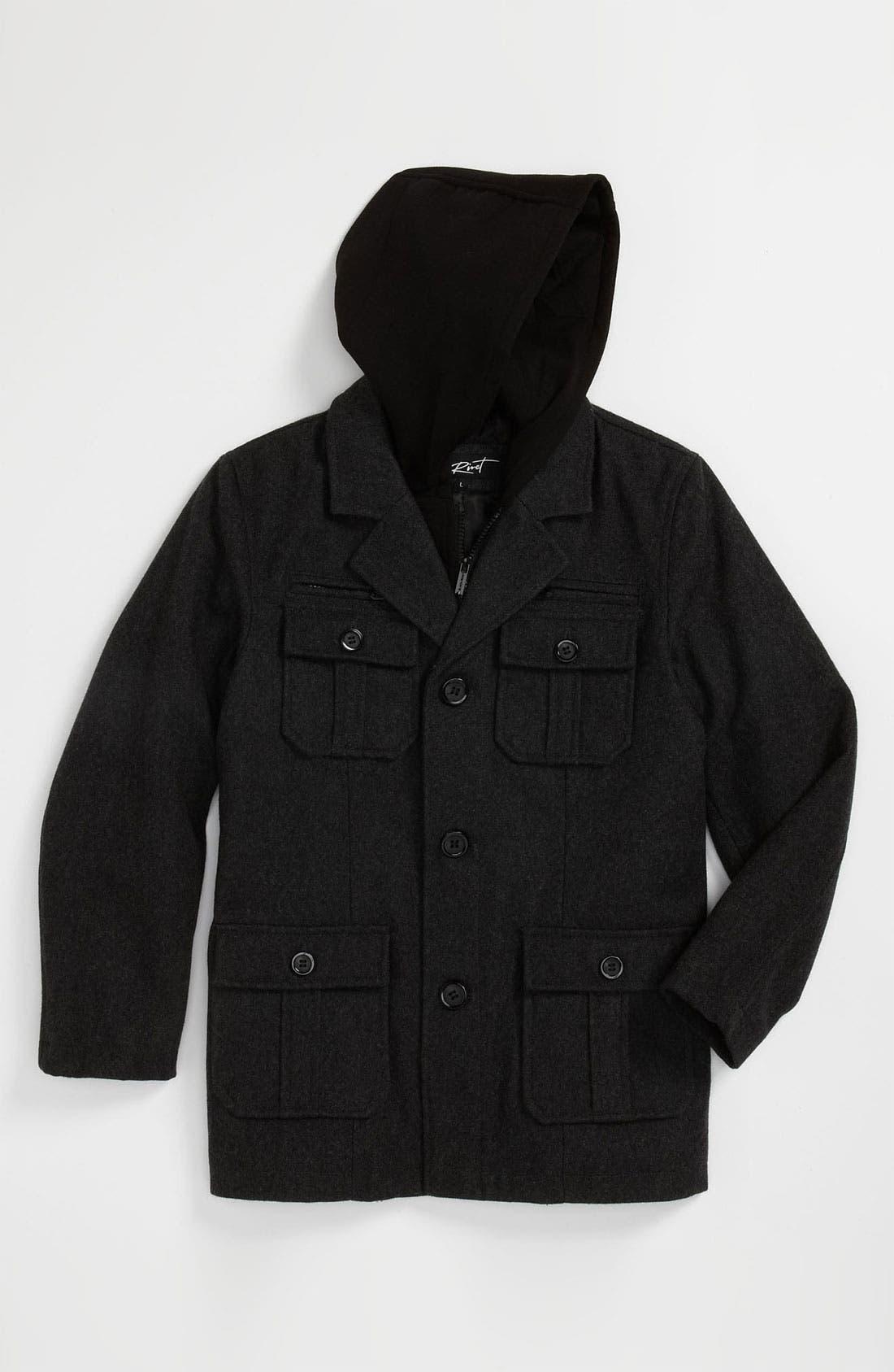 Main Image - Black Rivet Hooded Military Jacket (Big Boys)