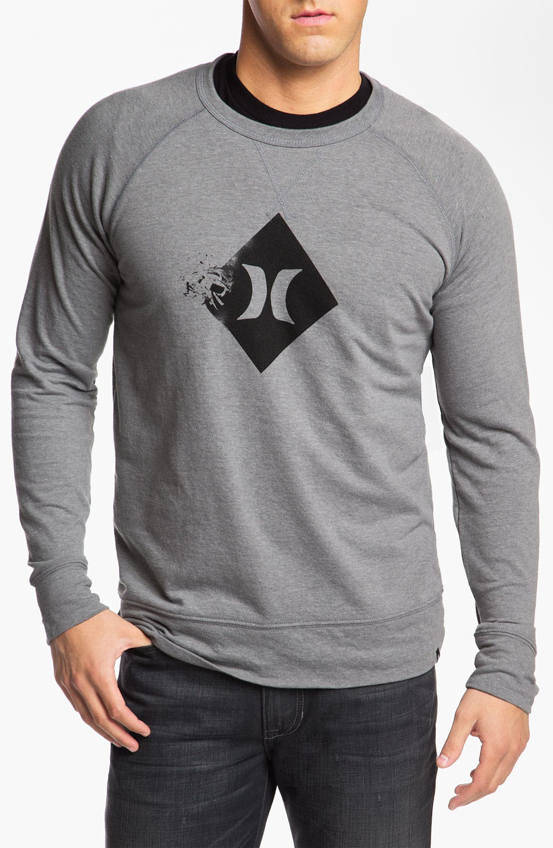 Main Image - Hurley 'Broken' Graphic Crewneck Sweatshirt