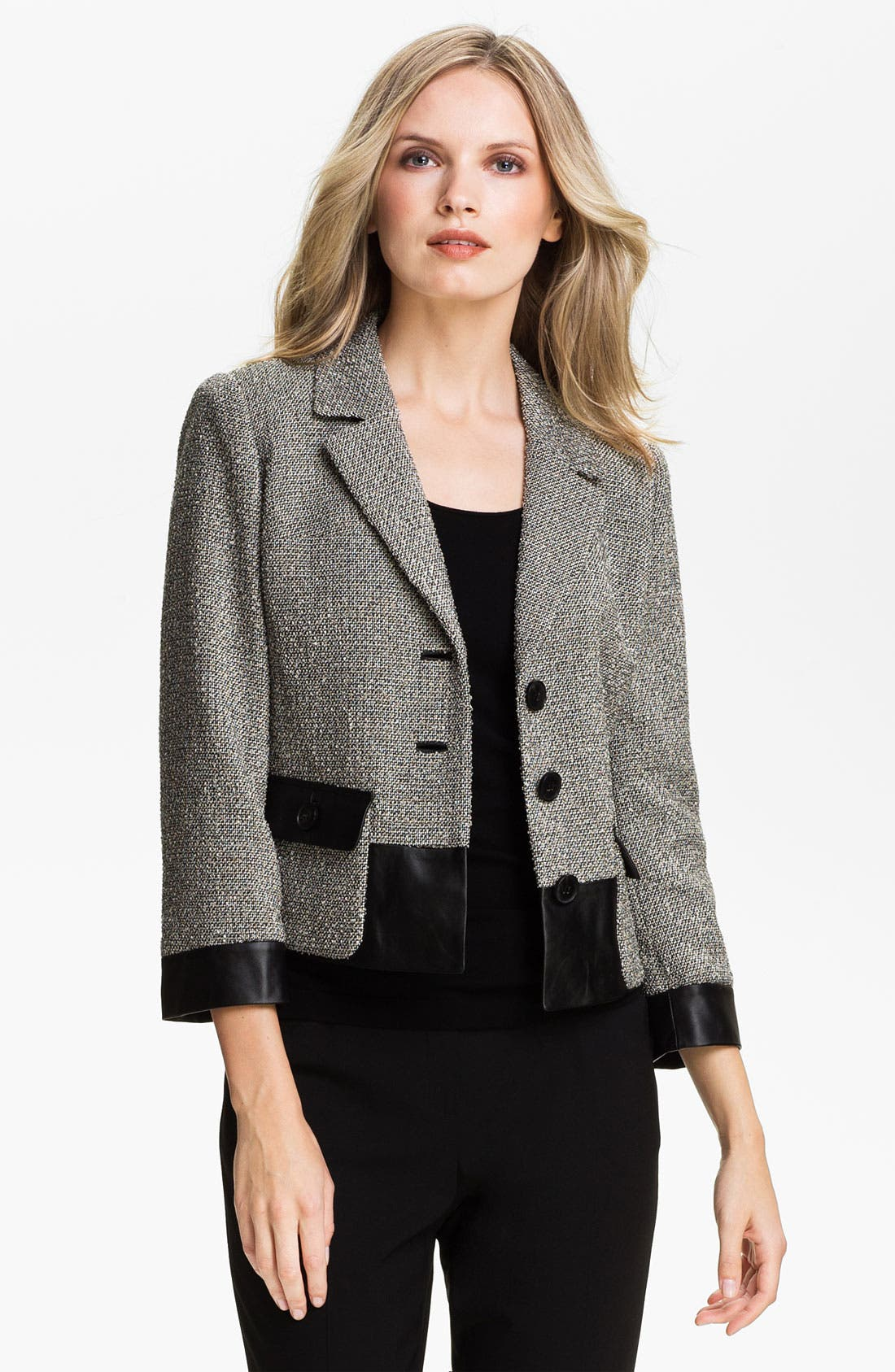 Alternate Image 1 Selected - Lafayette 148 New York 'Betty' Leather Trim Jacket