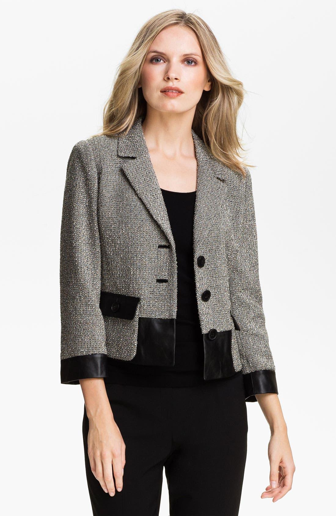 Main Image - Lafayette 148 New York 'Betty' Leather Trim Jacket