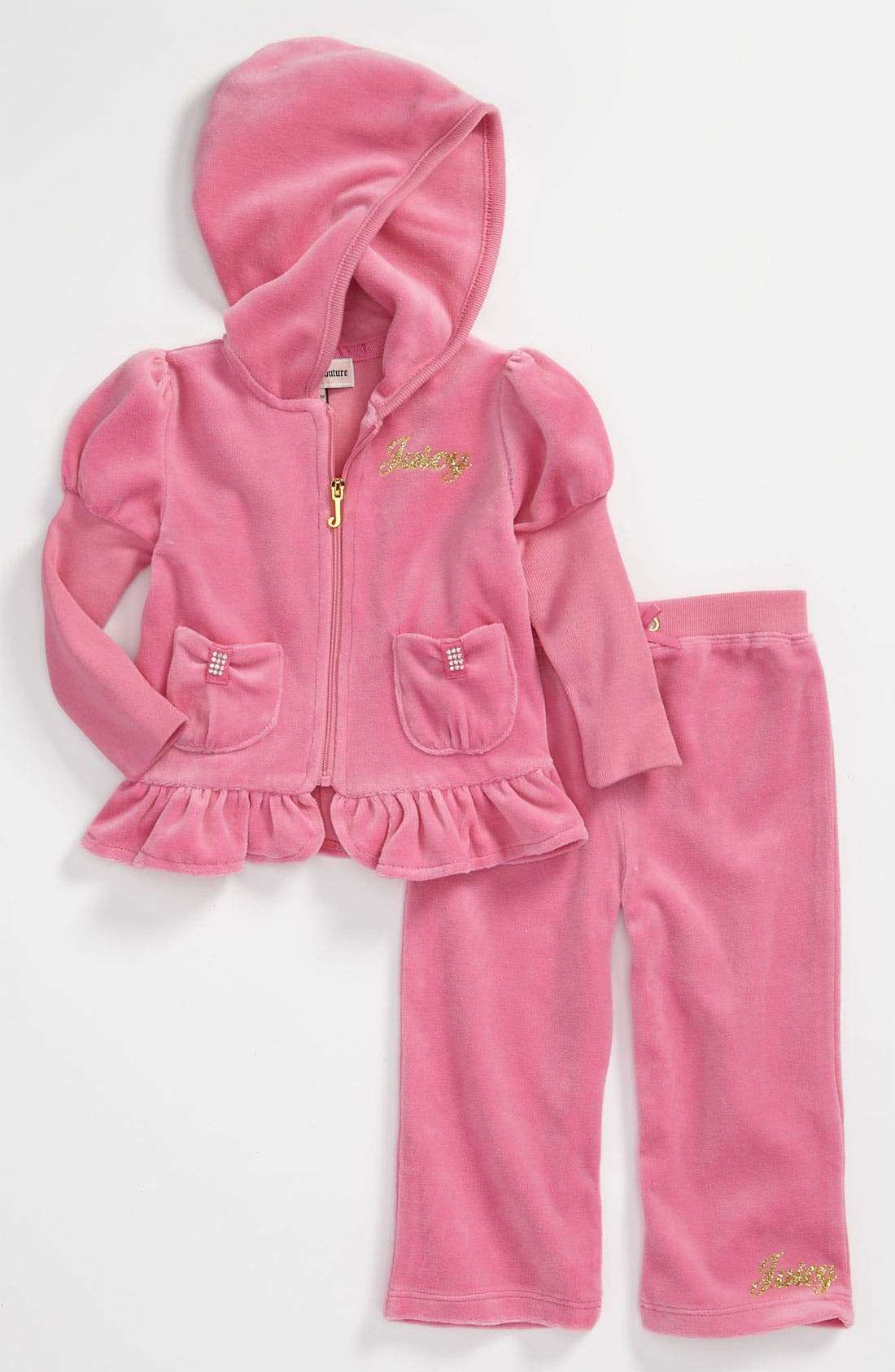 Main Image - Juicy Couture Velour Hoodie & Pants (Infant)