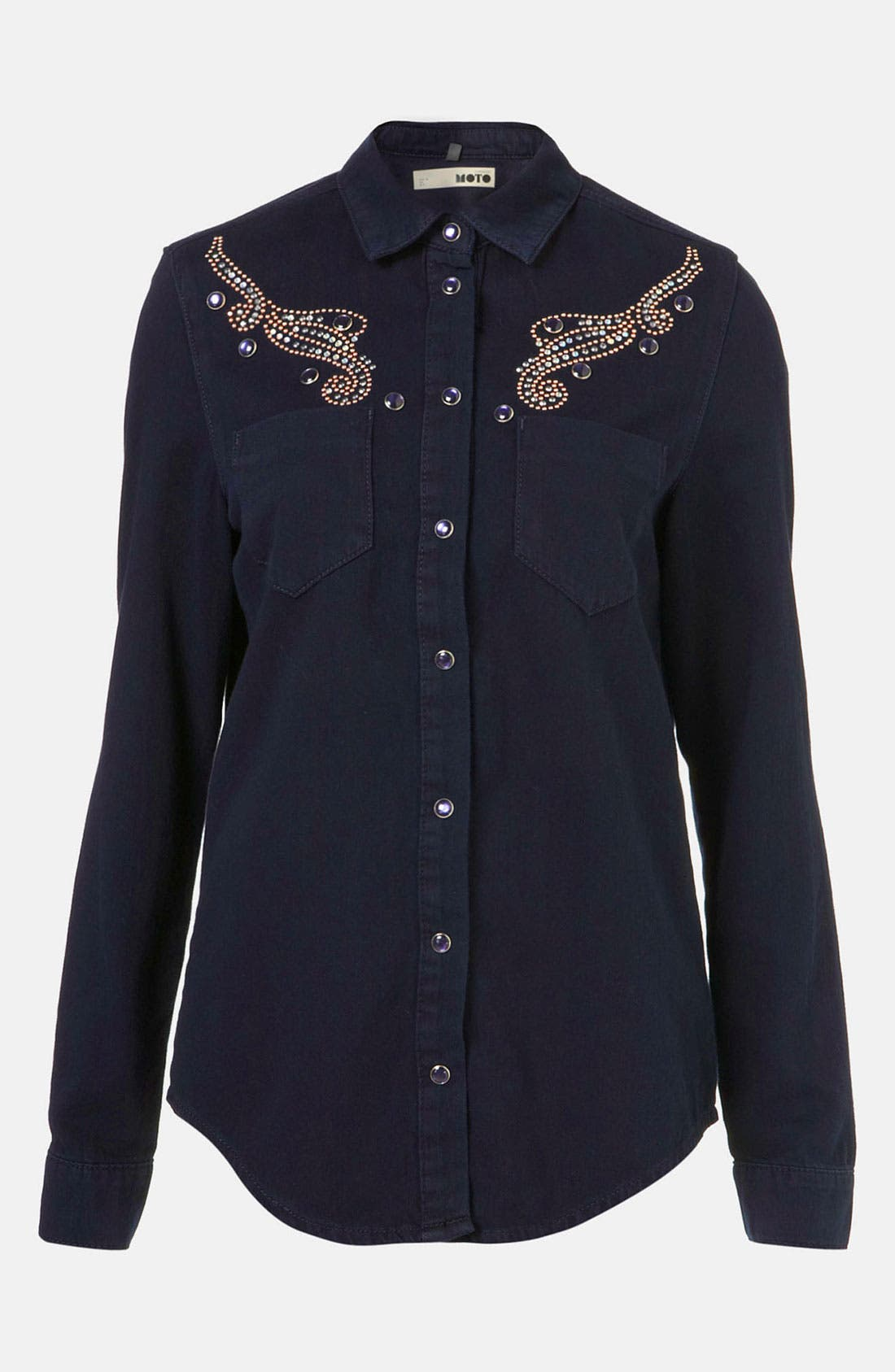Alternate Image 1 Selected - Topshop Moto Studded Western Denim Shirt