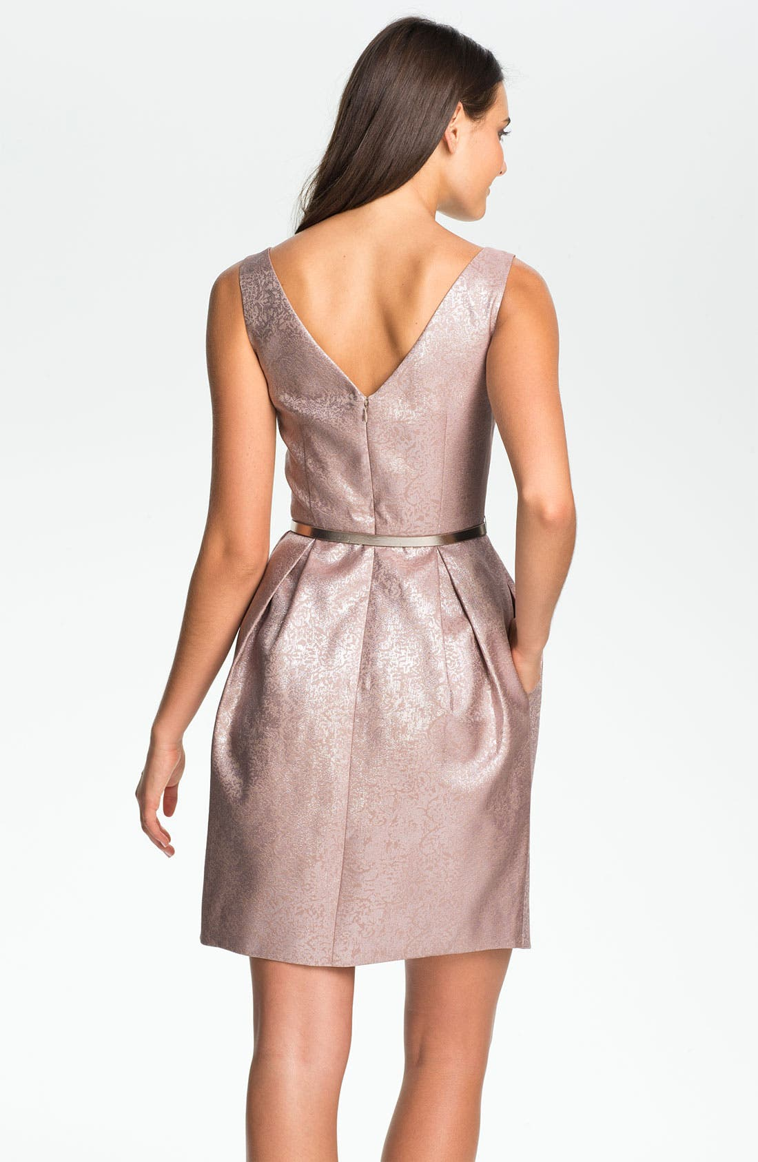 Alternate Image 2  - Eliza J Belted V-Back Jacquard Tulip Dress