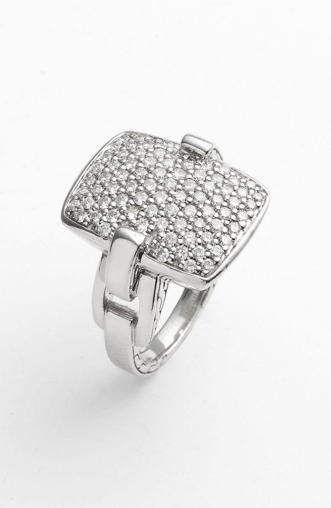 Main Image - John Hardy 'Classic Chain' Rectangular Diamond Pavé Ring