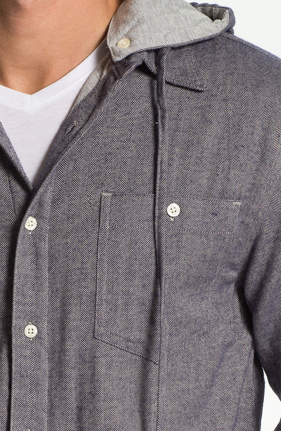 Alternate Image 3  - Threads for Thought Herringbone Flannel Shirt with Removable Hood