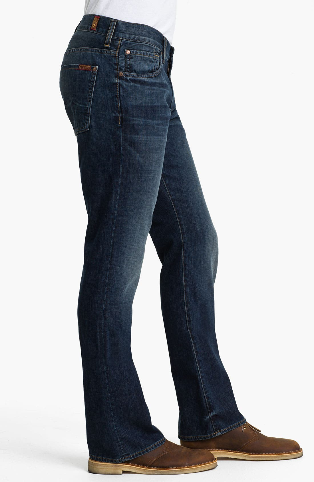 Alternate Image 3  - 7 For All Mankind® 'Brett' Bootcut Jeans (Worn Blue)