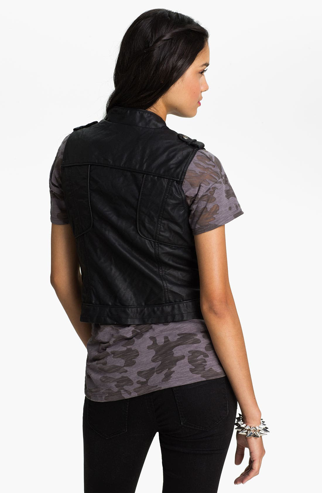 Alternate Image 2  - Collection B Faux Leather Moto Vest (Juniors)