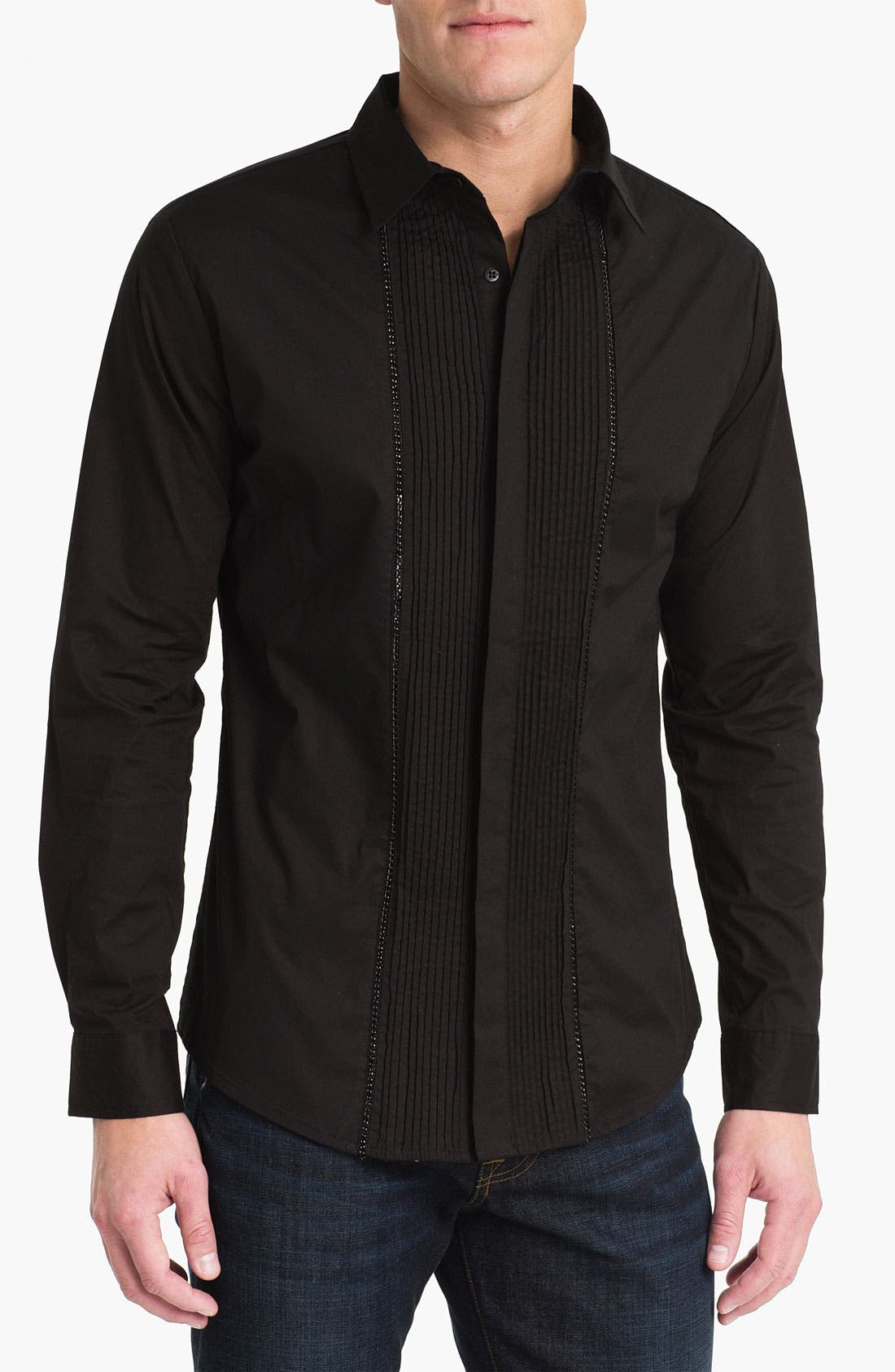 Main Image - Paul Black Pleated Woven Shirt