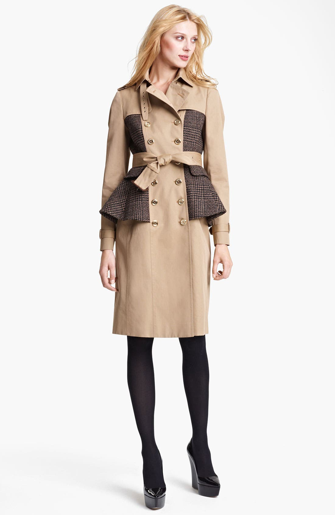Alternate Image 1 Selected - Burberry Prorsum Belted Plaid Peplum Trench Coat