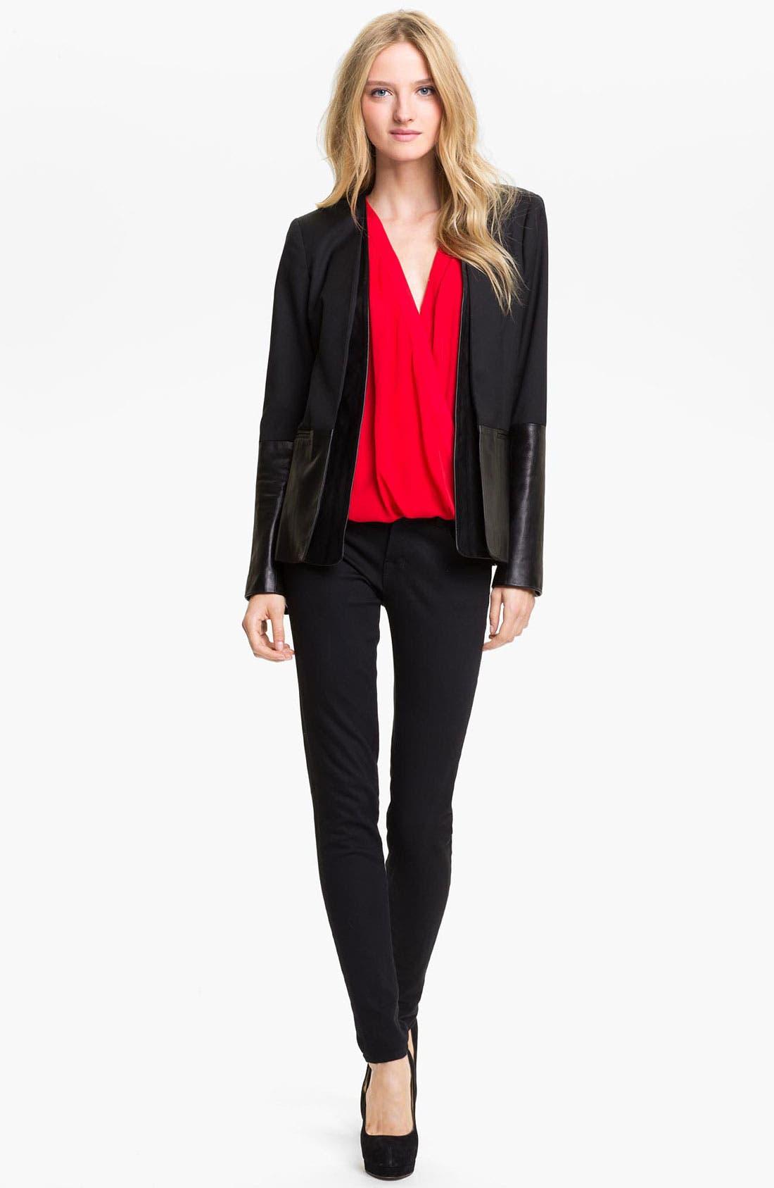 Leather Sleeve Jacket,                         Main,                         color, Black