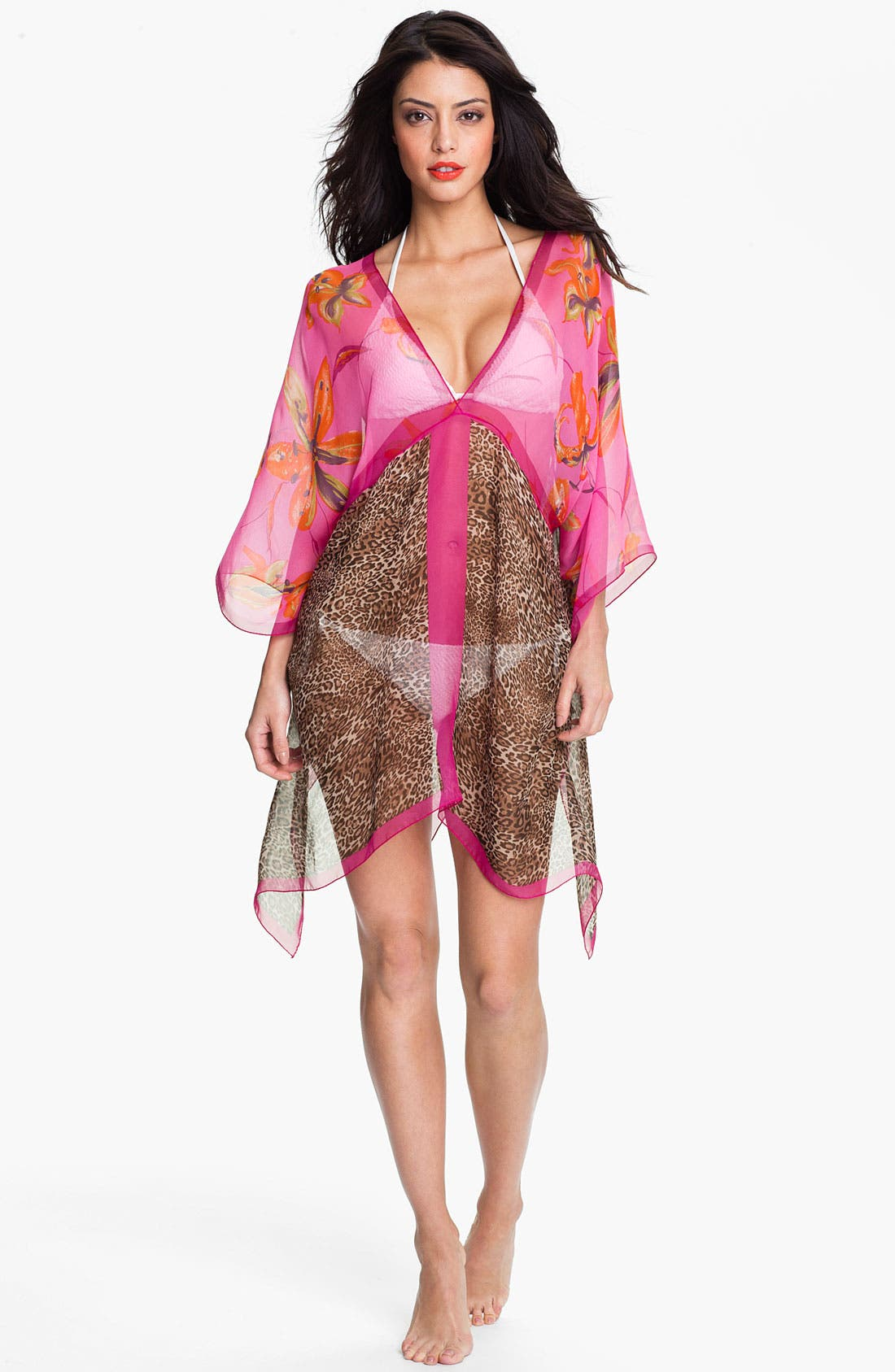 Main Image - Nordstrom 'Animal Floral' Silk Caftan