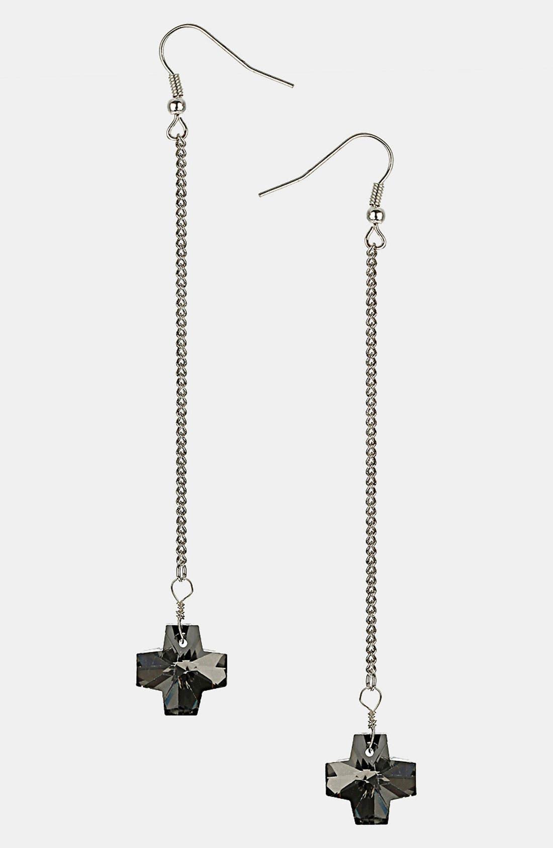 Main Image - Topshop Jet Cross Drop Earrings