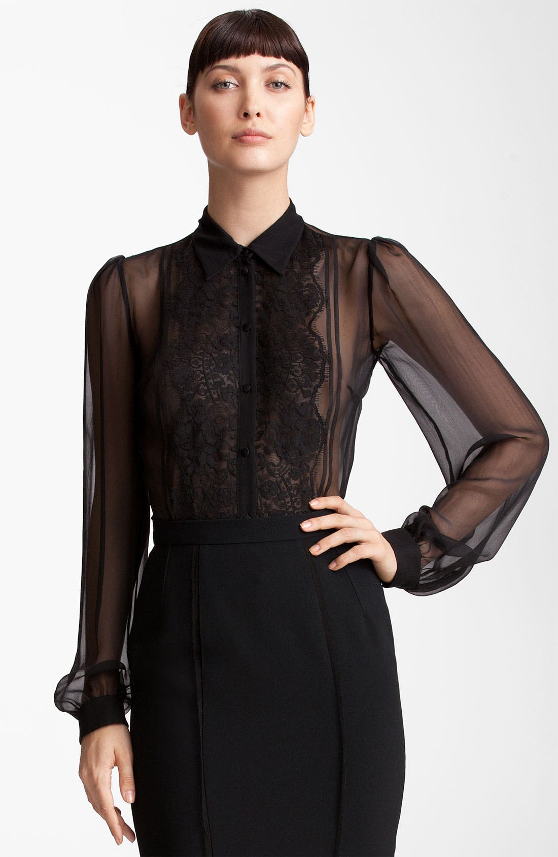 Alternate Image 1 Selected - Dolce&Gabbana Sheer Chiffon Blouse