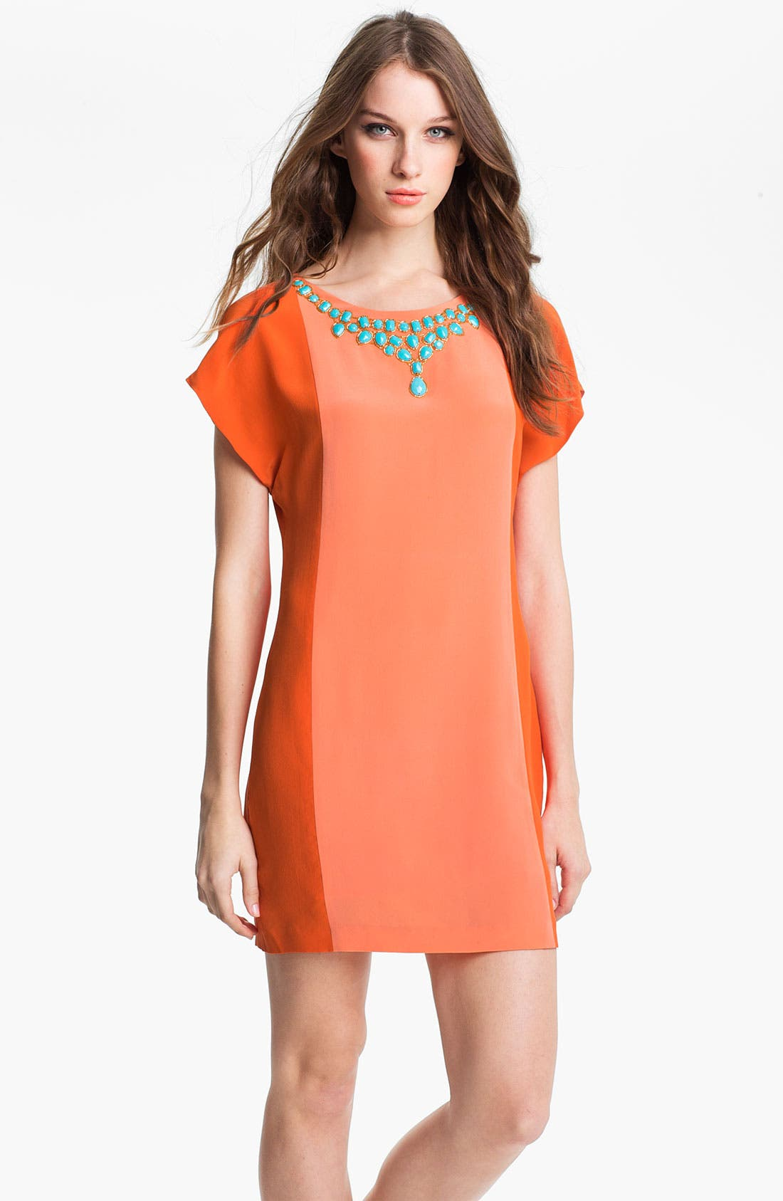 Main Image - Trina Turk 'Edgewater' Embellished Silk Shift Dress