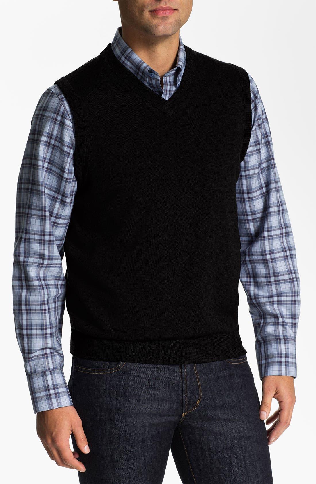 Alternate Image 1 Selected - Nordstrom V-Neck Merino Wool Sweater Vest