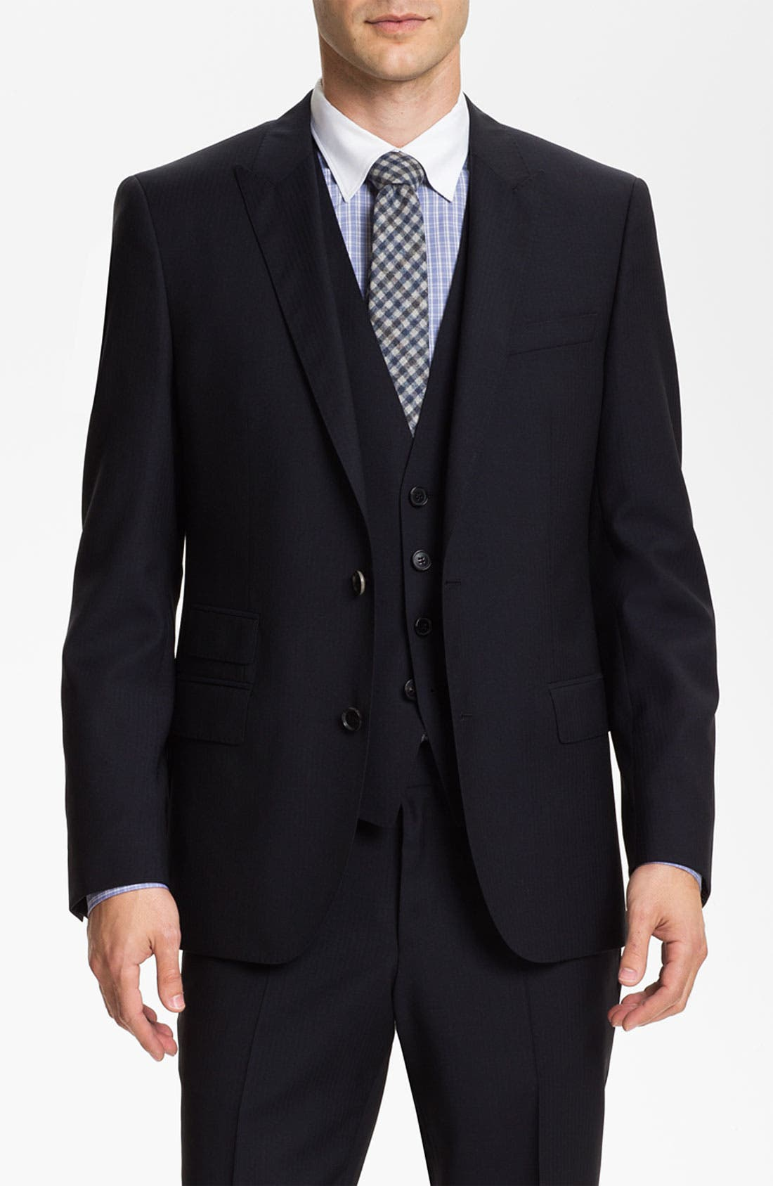 Alternate Image 1 Selected - BOSS Black 'Hold/Genius' Trim Fit Three Piece Suit